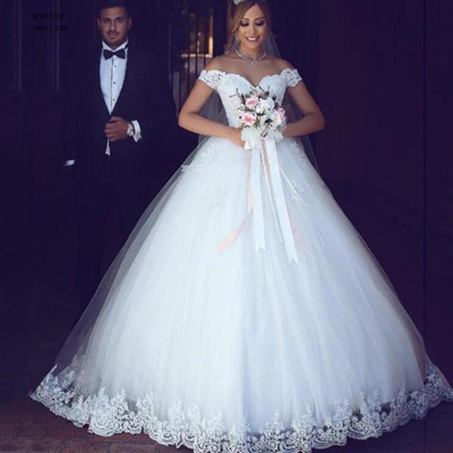 Laço branco apliques vestido de baile baratos vestidos de casamento 2020 fora do ombro mangas curtas vestidos de noiva china
