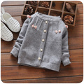 2016 Autumn Winter Baby Girls Cotton Bow knitting Single Breasted Sweaters Tops