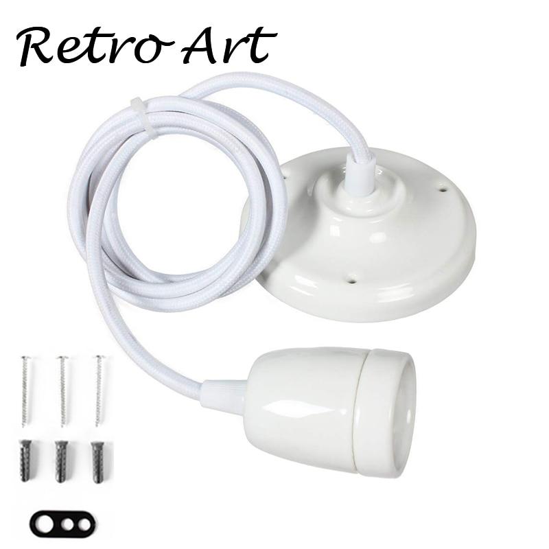 Vintage Colorful Ceramic Lamp Cord Set Ceiling Lamp Cords With E27 Porcelain Lamp Socket