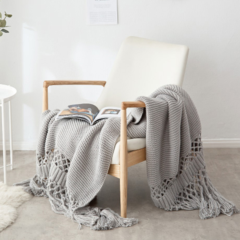 Us 139 99 Ins Hot Modern Tel White Solid Nordic American Style Bedding Couch Cover Thread Grey Throw Blanket Baby Sofa Picnic Travel In Blankets