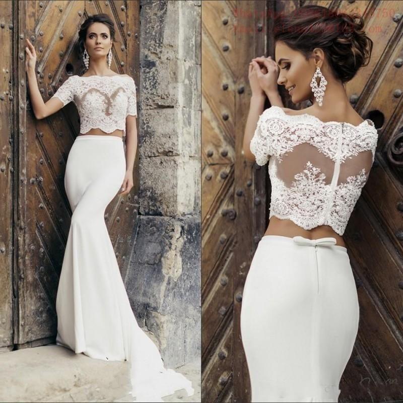 Plus Size Vestido Noiva Y White Mermaid 2 Piece Wedding Lace Short Sleeve Satin Bridal