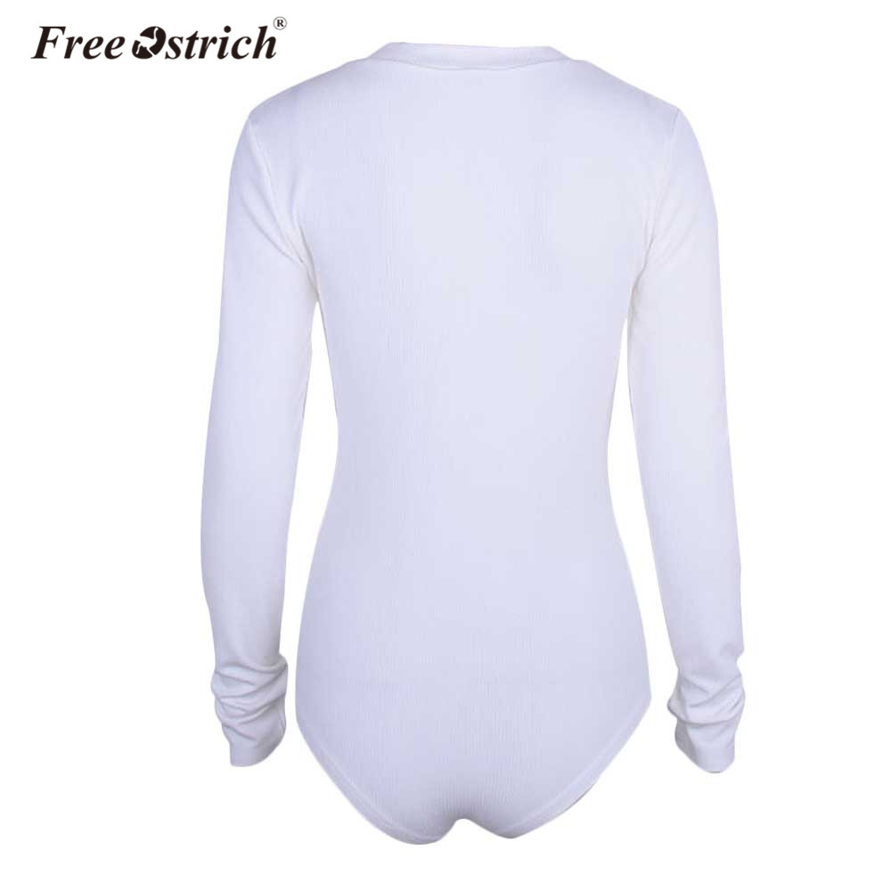 Free Ostrich Bodysuit for Women Autumn 2018 Sexy Bodysuits Single-breasted Long Sleeve Romper Female Jumpsuit L1230