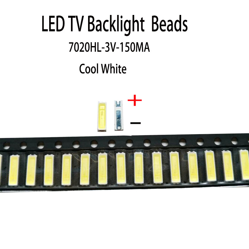 YONGYUEKEJI 100pcs lot new smd led 7020 3v 150ma lamp beads cool white for repair led lcd tv backlight bar and strip hot in Light Beads from Lights Lighting