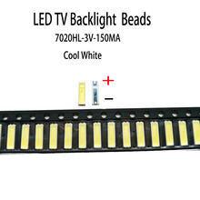 YONGYUEKEJI 100pcs/lot new smd led 7020 3v 150ma lamp beads cool white for repair lcd tv backlight bar and strip hot