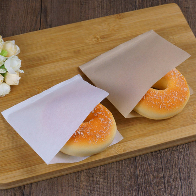 100 pcs/lots 12cm Solid Color Oilproof Sandwich Donut Bread Bag Biscuits Doughnut Paper Bags Bakery Food Packing