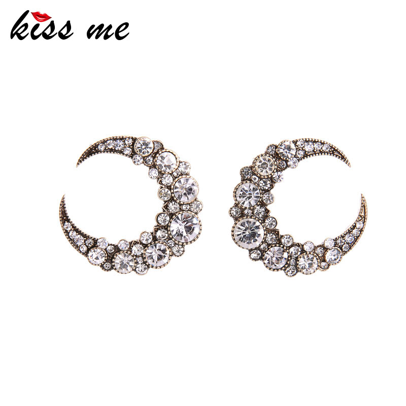 KISS ME Sekarang Trending Stud Earrings Kualitas Tinggi Zinc Alloy Crystal Moon Earrings Fashion Jewelry Hadiah Ulang Tahun