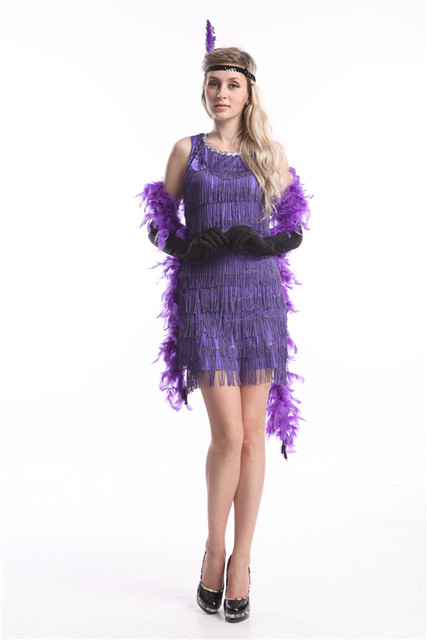 Free shipping Ladies 1920s Flapper Costume Sexy Womens 20 s Fancy Dress  Outfit zy419 purple black flapper dress 9fd72c55c3f4