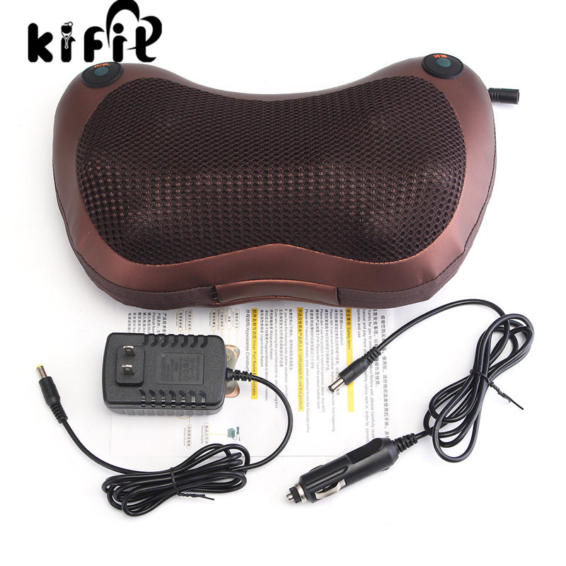 KIFIT High Quality Professional 8 Drives Electronic Car Massage Pillow Massager Cushion Neck Back Shoulder Relax Tool excellent quality 2 rollers relax finger joints hand massager fingers massage tool random color