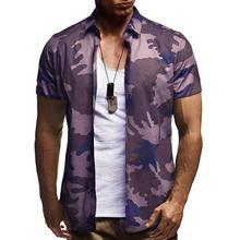 Social Shirt Men Camouflage Short sleeve Casual Blouse Slim fit for Mens clothing hip hop New