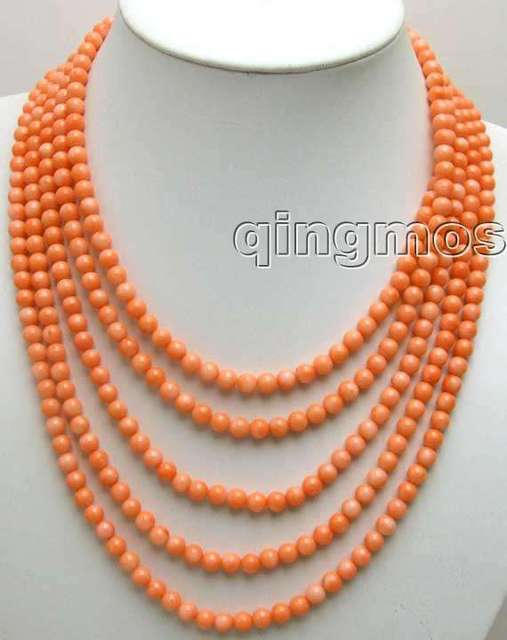 "Luxuriant! SALE 5 Strands Pink 6-7mm Round coral 18-23"" neckalce with Big Shell Clasp-nec5202 Wholesale/retail Free shipping"
