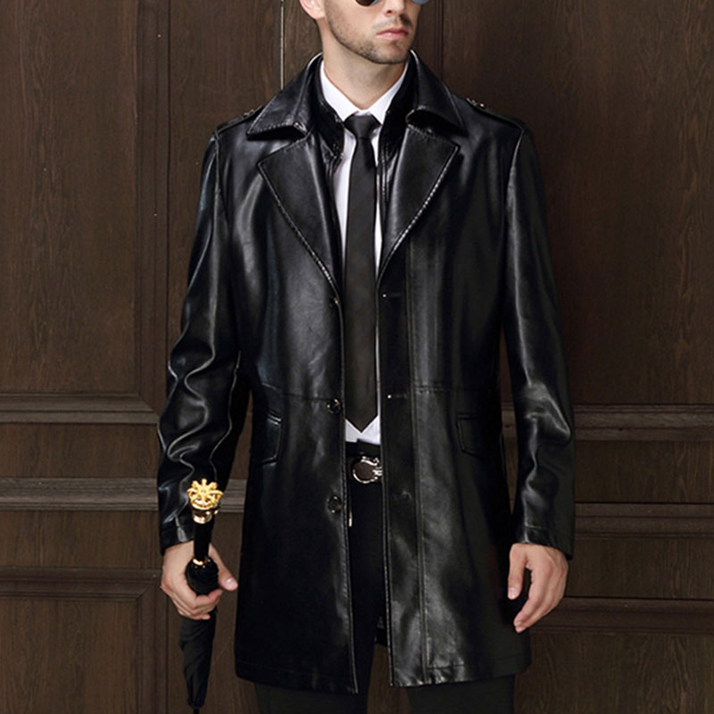 Popular Mens Black Leather Trench Coat-Buy Cheap Mens