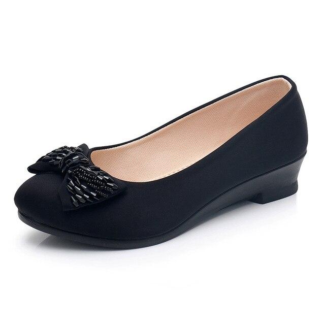 Autumn Women Office Shoes Ladies Low Heel Pumps Bow Black Wedges