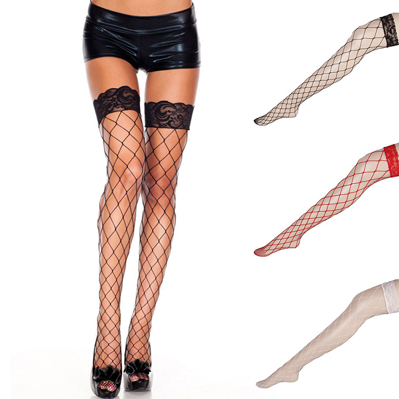 Women's Sexy Lace Top Mesh High Thigh Stockings Pantyhose Long Stocking
