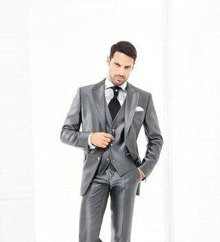 Moda dos botones gris plateado novio esmoquin padrino de boda para Hombre Trajes de graduación novio (chaqueta + pantalón + chaleco + corbata) K 762