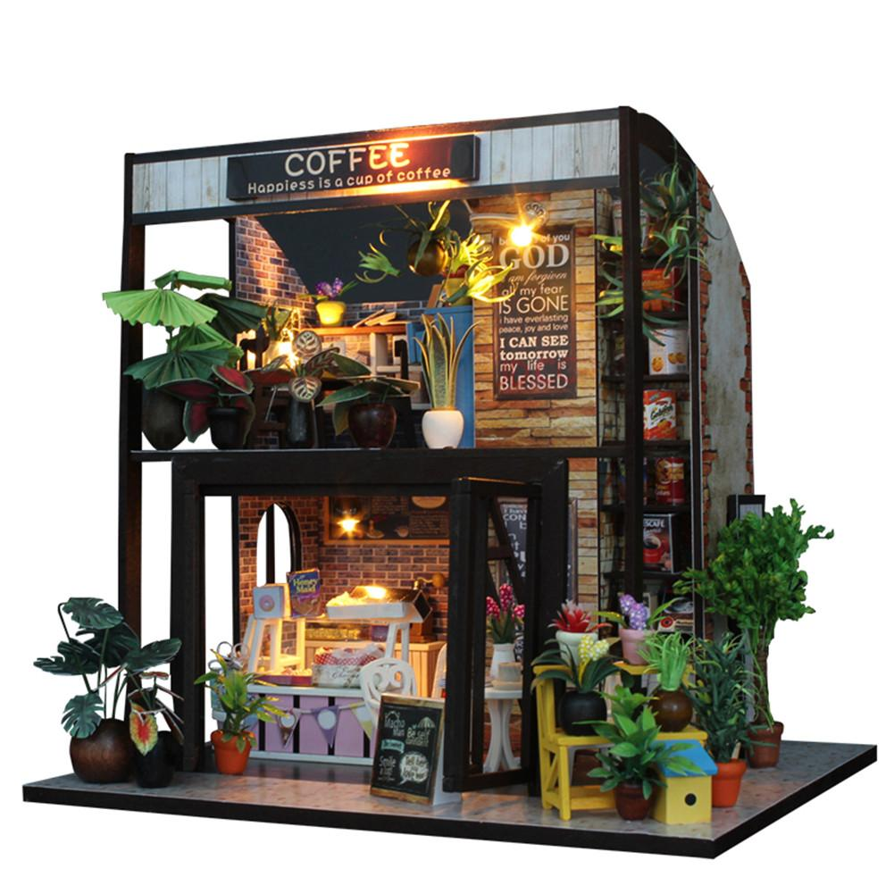DIY Miniature Dollhouse Time Cafe With Furnitures LED 3D Wooden Model Doll House Toys Handmade Crafts For Children Birthday Gift wooden handmade dollhouse miniature diy kit caravan