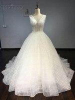 Erstaunliche v-ausschnitt Hochzeitskleid 2018 Backless Perle Perlen Funkelnde Brautkleid Gericht Zug Benutzerdefinierte Größe Kleid