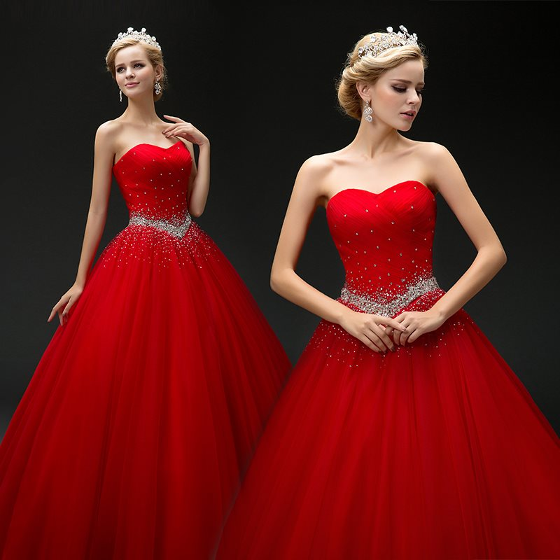 2019 nouveau Ensotek longues robes De bal De promo Vestido De 15 Anos De chérie perlée rouge perles Tulle Quinceanera robe