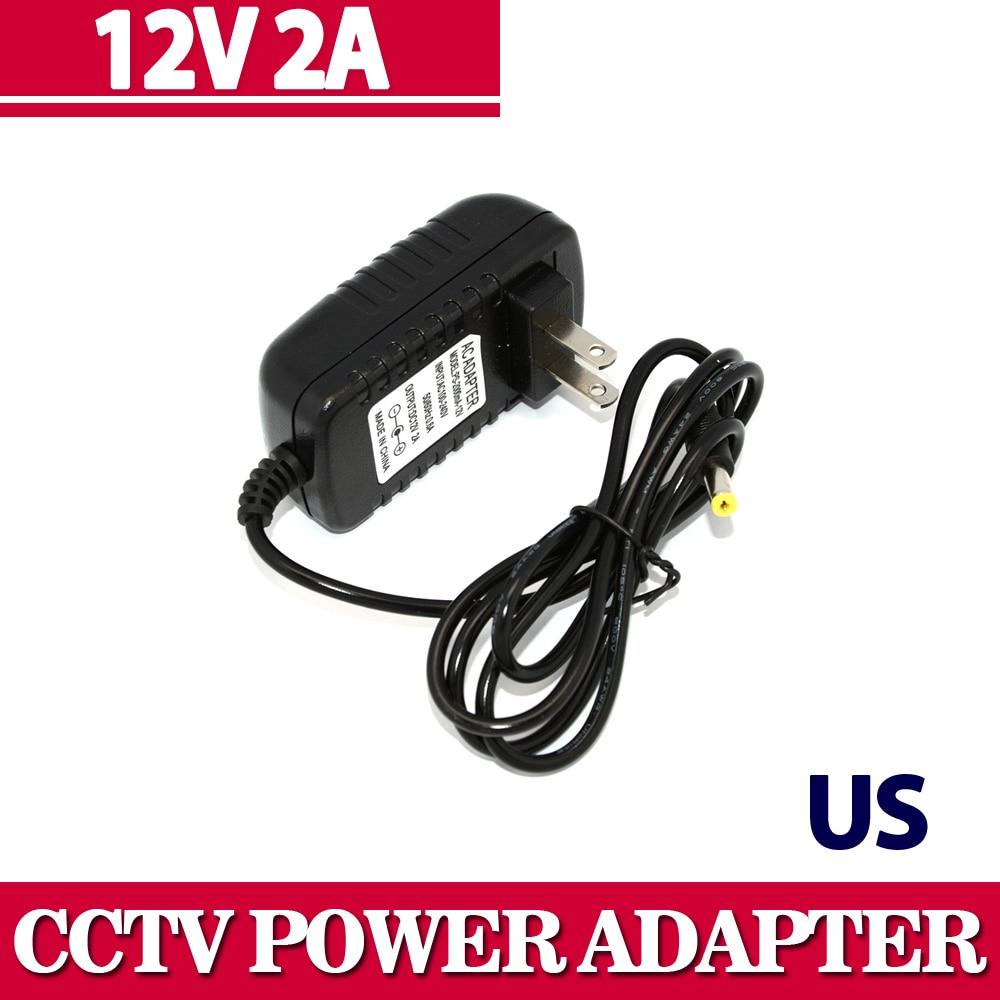 Universal AC 100-240V US Plug For DC 12V 2A 24W Power Supply Adapter Charger For LED Strips CCTV Security Camera Top Sale jrled 24w 12v 2a ac dc power adapter for led light strip black us plug 100 240v