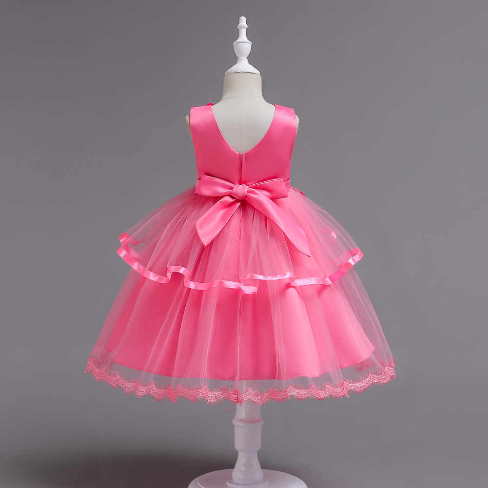 New Girl Dotted Party Dress White Pink 4 5 6 7 8 Years