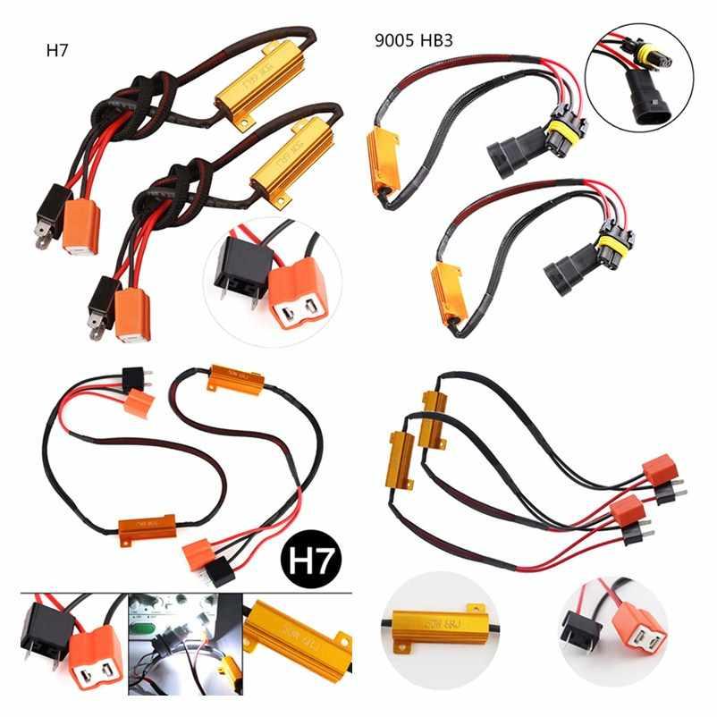 חדש 2 יחידות 50 w H7/9005/9006 רכב עומס הנגד שגיאת Canceller LED מפענח Canbus משלוח חיווט canceller מפענח אור
