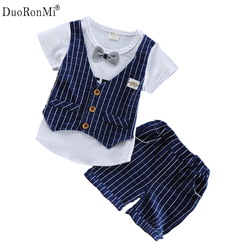DuoRonMi Toddler Children Summer Baby Boys Clothing Sets Gentleman Clothes Suits Kids Short Shirt +Short 2pcs Child formal Set