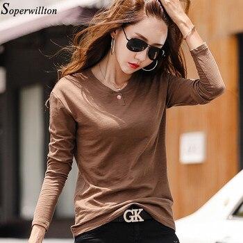 100% Cotton T Shirt Women Long Sleeve Tshirt Female 2020 Spring Autumn Ladies Tops Tee Shirt Femme Plus Size 3XL White Black G79 - Coffee, M