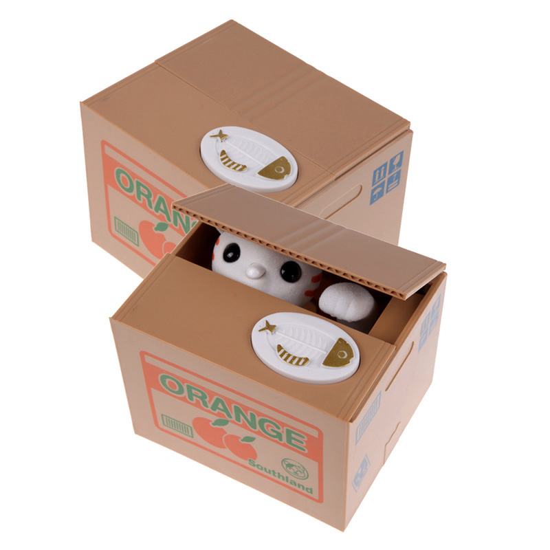 Square 40 Coins Greedy Cat Panda Steal Coin Piggy Bank Automated Savings Box Toy Gift White Money Coin Boxes Xmas New Year Gifts