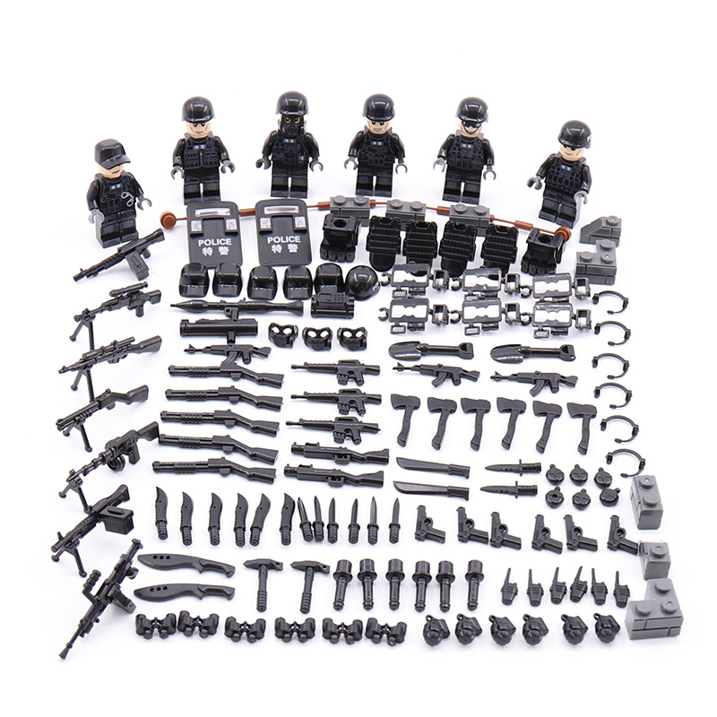 LegoING Mini Military Figure SWAT City Police Soldiers Mini Toy figure Modern Commando Special Forces Weapons Building Blocks