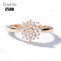 BAIHE Solid 14K Rose Gold 0 30CT Certified H SI Round 100 Genuine Natural Diamond Wedding