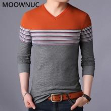 Мужские свитера модный осенний пуловер Homme тонкий теплый весенний умный Повседневный мужские свитера джемпер с v-образным вырезом MOOWNUC MWC