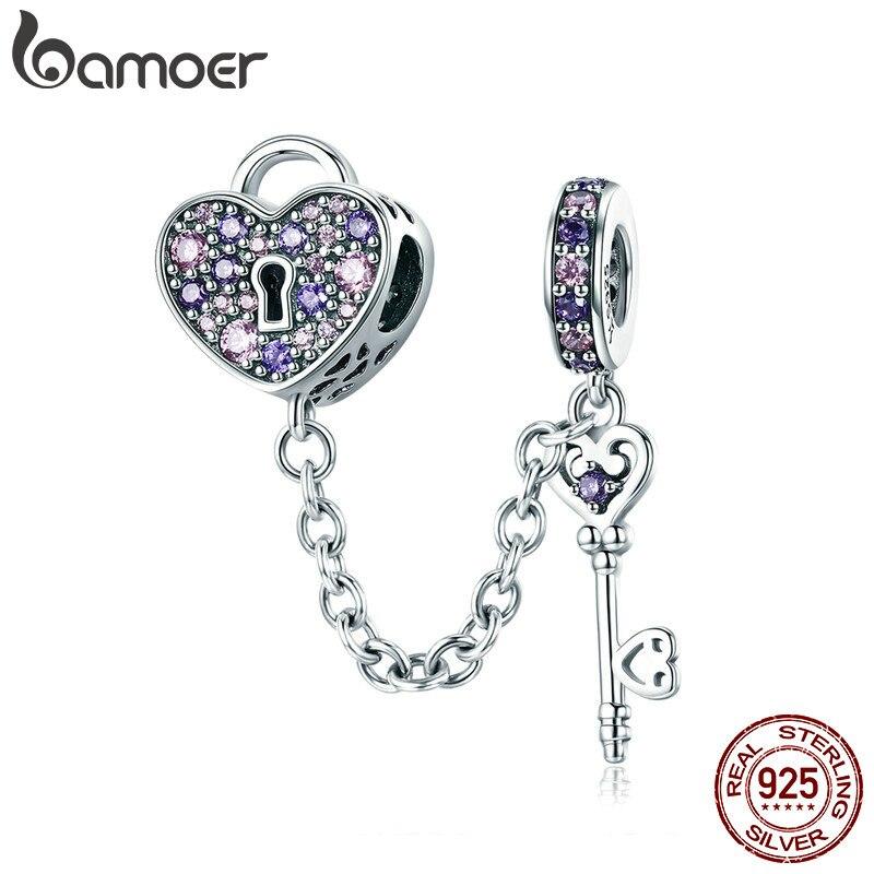 BAMOER 100% llave de plata de ley 925 de bloqueo de corazón de cristal de CZ cadena encantos pulseras y collares del encanto de joyería de cadena de SCC772