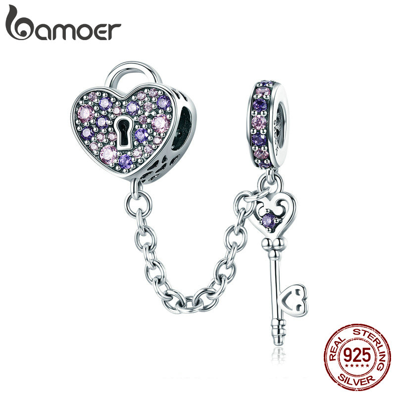 BAMOER 100% 925 Sterling Silver Key of Heart Lock Crystal CZ Chain Charms Fit Charm Bracelets & Necklaces Chain Jewelry SCC772