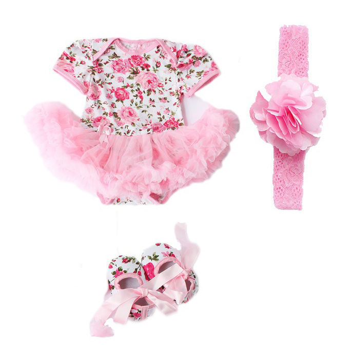 Hot Summer Cotton newborn baby girls Rompers 3pcs Rose Flower Infant Baby Girls Romper Tutu Dress Jumpsuit Outfits Clothes set