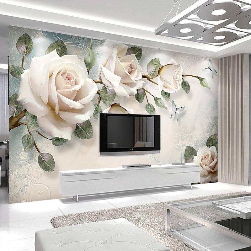 Modern minimalist mural wallpaper european style white - Oil painting ideas for living room ...