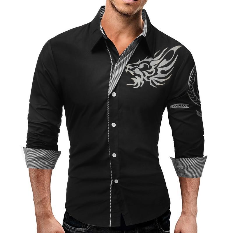 2018 Marke Neue Weiß Sozialen Shirt Männer Mode Gedruckt Männer Kleidung Lässig Mit Langen Ärmeln Slim Fitness Tunika Shirts Plus Größe 4xl
