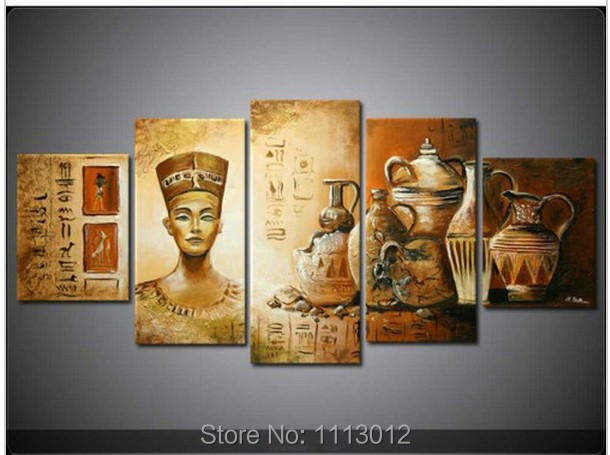 Hand Painted Egyptian Culture Porcelain Home Wall Art Decor Landscape Oil Painting On Canvas 5pcs/set Picture For Living Room