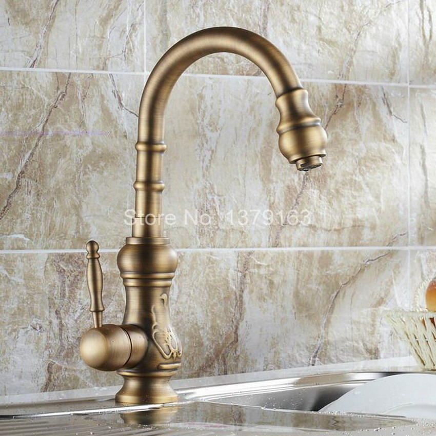 Vintage Retro Antique Brass Single Handle Swivel Spout Kitchen Sink Faucet Cold & Hot Mixer Tap asf080