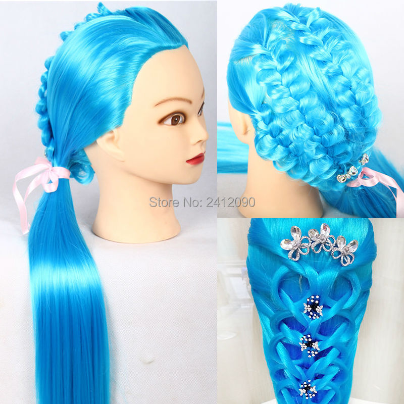 doll hair styling head blue yaki hair cosmetology mannequin heads synthetic wig 1734 | Blue Yaki Hair Cosmetology Mannequin Heads Synthetic Wig Manik Training Head With Makeup Hairdressing Doll Heads