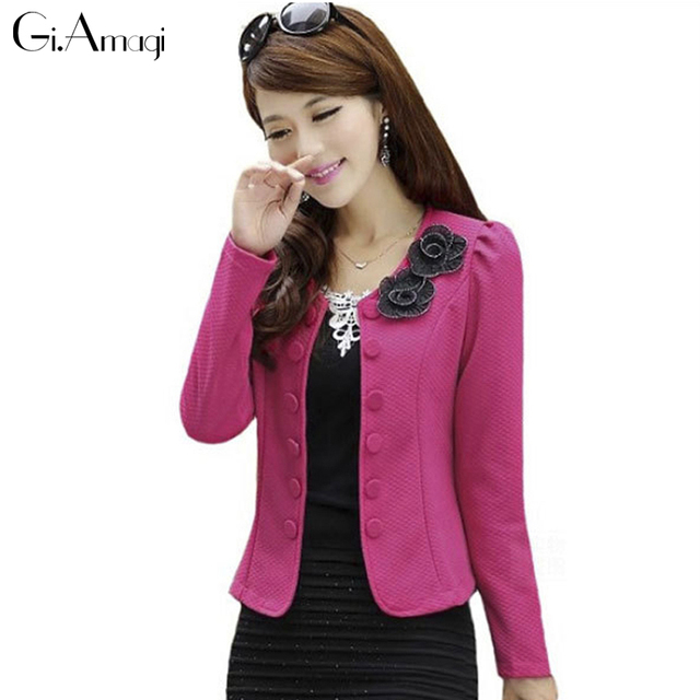 Plus Size 2017 New Women's wild temperament Casual Slim Foldable double-breasted Women Jackets Cardigan Coats #GRJ002
