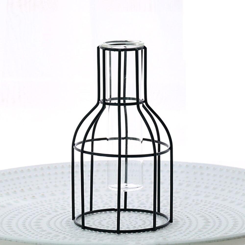 Цветочный горшок подставка для цветов кованая железная ваза гидропонная ваза Геометрическая креативная железная стеклянная - Цвет: 4