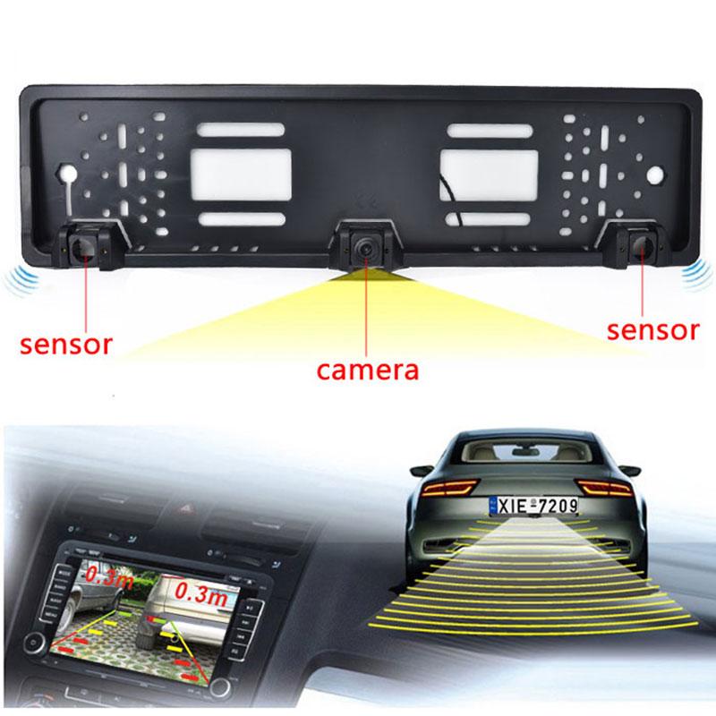 EU European Car License CCD Rear View Camera Plate Frame Parking Camera Two Reversing Radar Parking Sensors