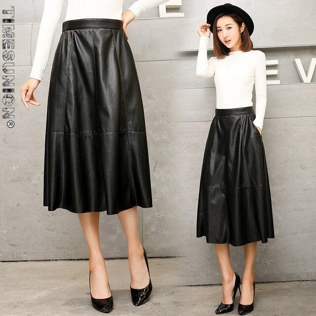 Resultado de imagen de falda de cuero larga