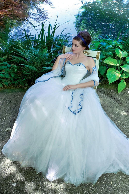 New collection shiny Royal blue lace hem bridal wedding dress ...