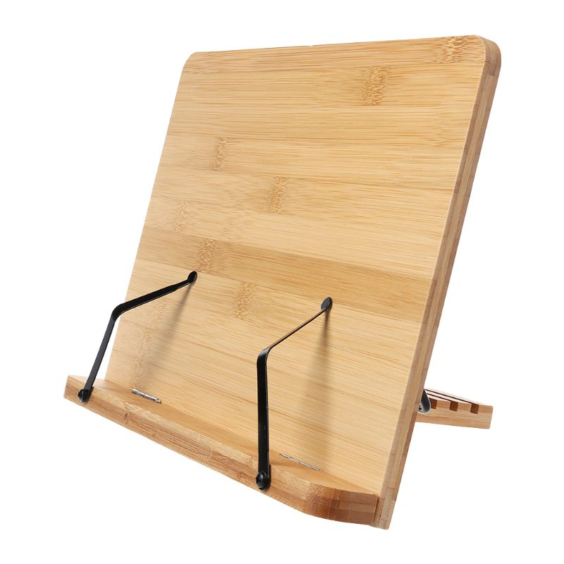 Bamboo Adjustable Reading Book Holder Tray Page Paper Clips Foldable Tablet Cookbook Portable Sturdy Bookstand Bookends     - title=