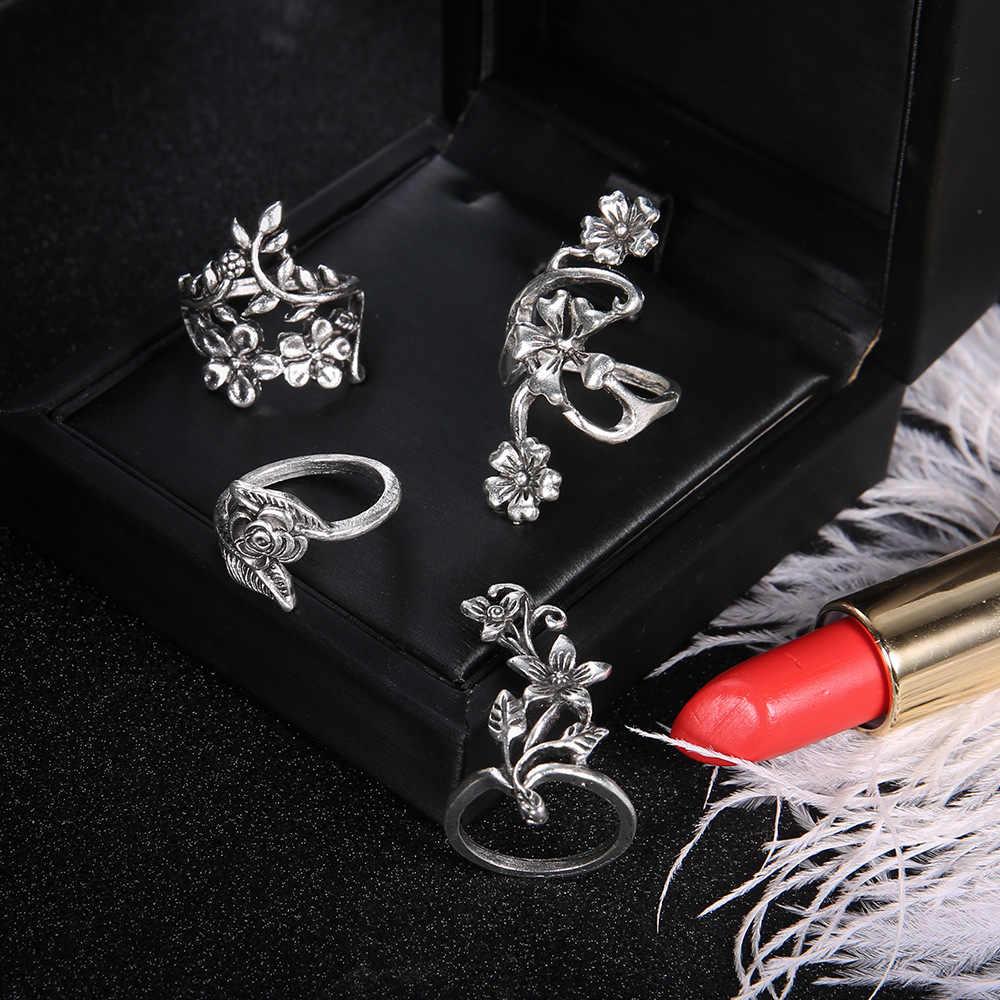 4 unids/set dedo anillo para las mujeres de plata antigua Color rosa hoja hueco flor hojas anillos de nudillo medio dedo de la joyería regalo