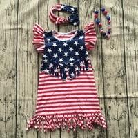 2017 New Girl Summer Dress Kids July 4th Dresses Baby Girl Tassels Dress Children Boutique Fourth