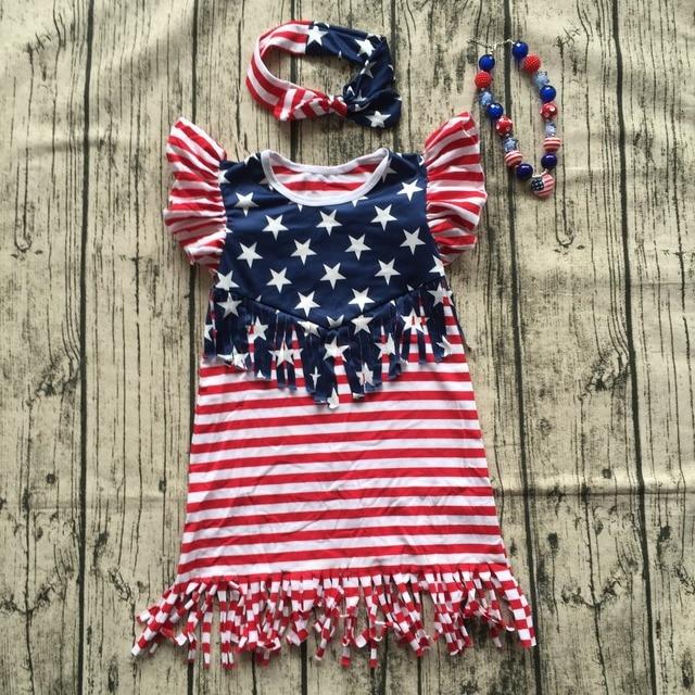 1209 5 De Descuento2018 Caliente Sin Mangas Niños Julio 4th Vestidos Niña Verano Bandera Americana Borlas Vestido Niños Boutique Trajes Con