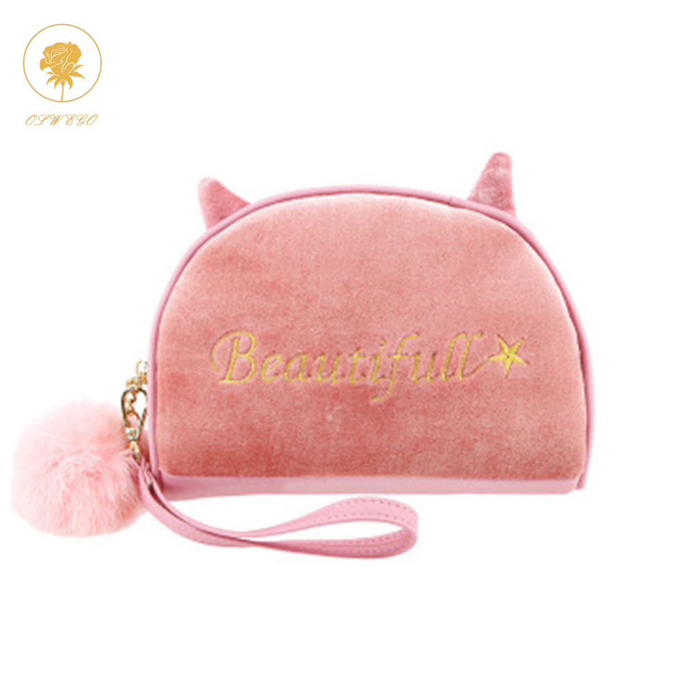 a6a94ba0d9ab OSWEGO Fur Purse Mini Coin Purses Letter Velvet Wallets Kiss Clasp ...