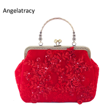 Angelatracy 2018 Handmade Evening Bags for Women Red Lace Party Clutch Bag Luxury Handbag Blingbling Vintage Clasp