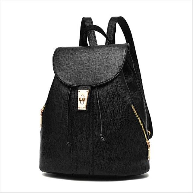 2017 Women Leather Backpacks Bolsas Mochila Feminina Large Girls Schoolbag Travel Bag Solid Candy Color Femme Sac A dos Beige